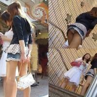 【盗撮パンチラ画像】一連の流れがわかるスカート逆さ撮り!階段やエスカレーターに乗る瞬間をwwwwwww