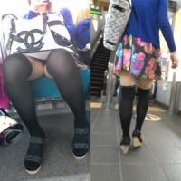 【パンチラ画像】ギャルのパンツは何色!?駅ホームや電車内で逆さ撮り、対面パンチラを狙った激ヤバ作品wwwwwwwww
