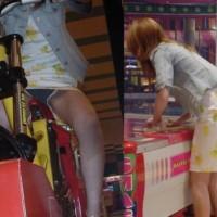 【盗撮パンチラ画像】ゲーセンでキャバ嬢やJKのパンツを盗撮してみた。プリクラ時は無防備すぎるwwwwww