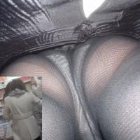 【パンティ逆さ撮り画像】パンストタイツ越しに透けて見えるパンツ。線がマンスジに食いこみまくりwwwwwww