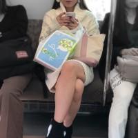 【電車チラリ画像】ギャルの対面に座ったら、まずはエロい脚とデルタゾーンのパンチラチェックwwwwwww